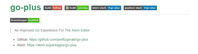 Golang IDE Atom+go-plus